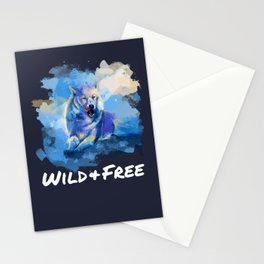 Wild and Free - Wolf illustration, quote Stationery Cards