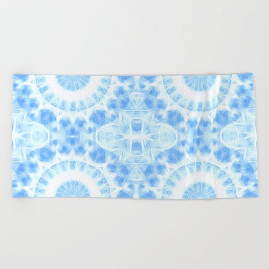 Peaceful blue mandala Beach Towel