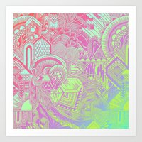 hologram Art Prints featuring Hologram Wave by michiko_design