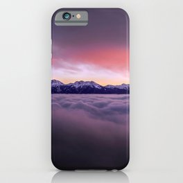 High Altitude Ice Covered Mountain Range Magenta Tint High Resolution iPhone Case