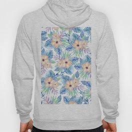 Tropical coral lilac lavender blue watercolor floral Hoody