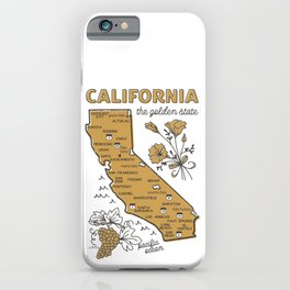 California The Golden State Illustrated Map iPhone Case