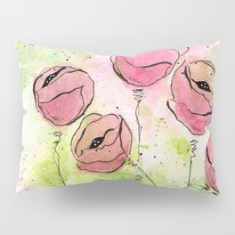 Pink and Green Splotch Flowers Pillow Sham