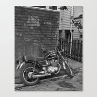 motorcycle Canvas Prints featuring Motorcycle by Cydney Melnyk Photography