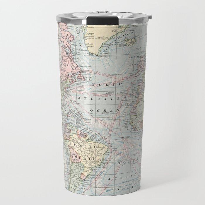 360 Degree World Map.Vintage World Map 1901 Travel Mug By Bravuramedia Society6