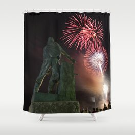 Fourth of July Fireworks in Gloucester Shower Curtain