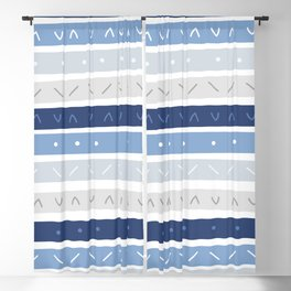 Bowie Blue Stripe Blackout Curtain