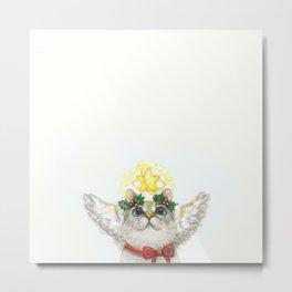 Small Christmas Angel Cat Metal Print