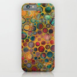 Dots on Painted and Gold Background iPhone Case