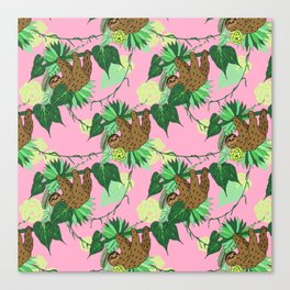 Sloth - Green on Pink Canvas Print