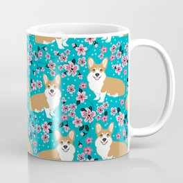 Welsh Corgi cherry blossoms dog portrait custom dog art spring floral dog pattern pet friendly Coffee Mug