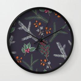 Retro. Christmas pattern . Wall Clock
