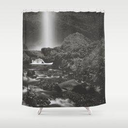 Latourell Falls Waterfall II - Black and White Shower Curtain