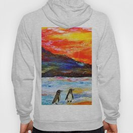 Beautiful Penguins With Sea Lion By The Blue Ocean Painting Hoody