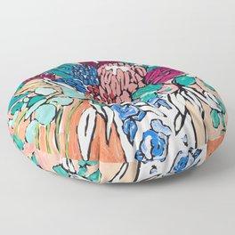 Orange Protea Bouquet Australian Wildflower Still Life Painting Floor Pillow