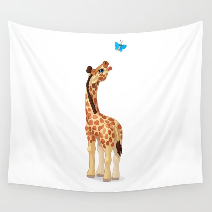 Cute little giraffe. Vector graphic character Wall Tapestry