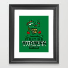 Fighting Turtles Framed Art Print