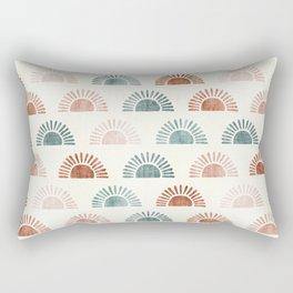 block print suns - terra cotta and jade Rectangular Pillow