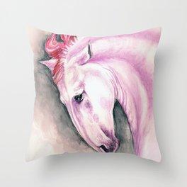 Pink Andalusian Mustang Throw Pillow