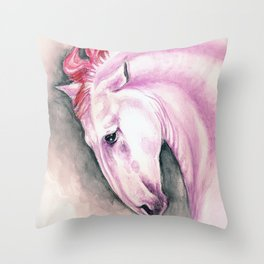 Pink Andalusian Mustang Throw Pillow