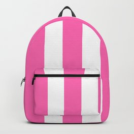 Hot pink - solid color - white vertical lines pattern Backpack