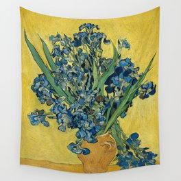 Still Life: Vase with Irises Against a Yellow Background Wall Tapestry