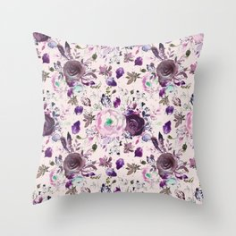 Country chic pink lavender violet watercolor floral Throw Pillow