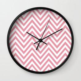 Zigzag Pattern, Chevron Pattern - White Pink Wall Clock