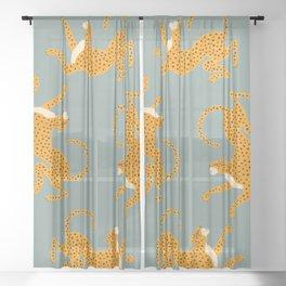 Leopard Race - blue Sheer Curtain