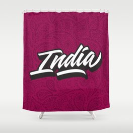 India hand made lettering script Shower Curtain