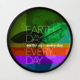 Earth Day Every Day_Robin Pickens Wall Clock