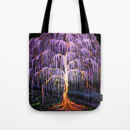 Electric Wisteria Willow Tree Tote Bag