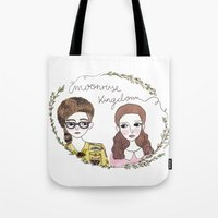 moonrise kingdom Tote Bags featuring Moonrise kingdom by Virginia Bei