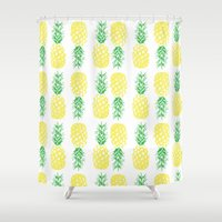 pineapples Shower Curtains featuring Pineapples  by Ashley Hillman