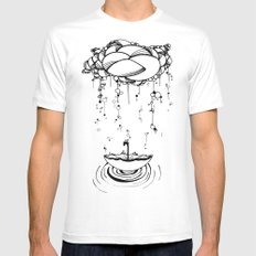 Abstract Whimsical illustration, Rain, cloud, umbrella, Black and white, pen and ink White Mens Fitted Tee MEDIUM