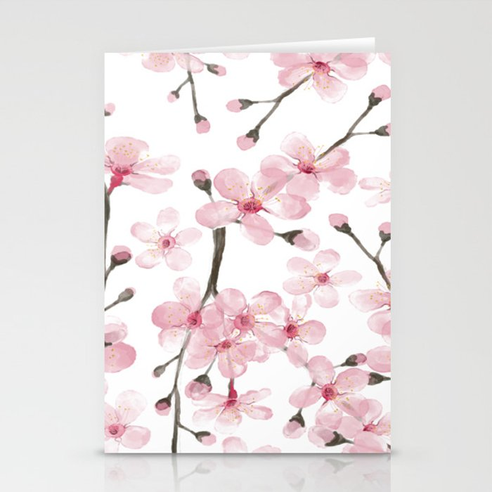 cherry blossom watercolor Stationery Cards