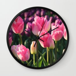 Pink and Purple Tulips Wall Clock