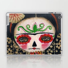 Frida The Catrina And The Skull - Dia De Los Muertos Mixed Media Art Laptop & iPad Skin