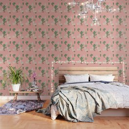 Alpaca with Cacti Wallpaper