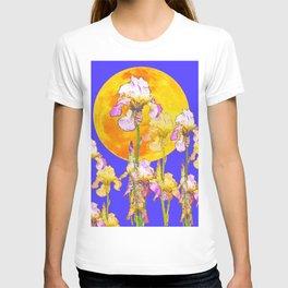 IRIS GARDEN & RISING GOLD MOON  DESIGN ART T-shirt