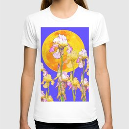 IRIS GARDEN & RISING GOLD MOON  DESIGN ART T-shirt