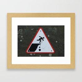 Caution Sign, Cliffs of Mohr Framed Art Print