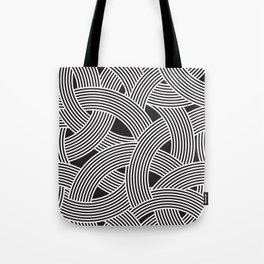 Modern Scandinavian B&W Black and White Curve Graphic Memphis Milan Inspired Tote Bag