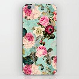 Vintage & Shabby Chic - Summer Teal Roses Flower Garden iPhone Skin