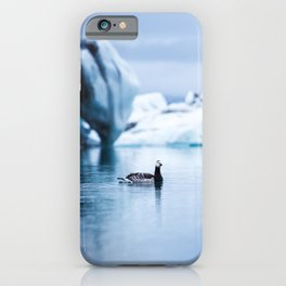 Jokulsarlon glacier lake with bird | Iceland | winter and ice | Landscape and nature photography iPhone Case