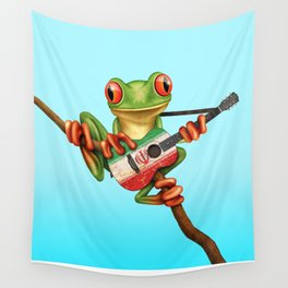 Tree Frog Playing Acoustic Guitar with Flag of Iran Wall Tapestry