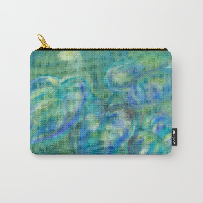 Green and White Spring Leaves Carry-All Pouch
