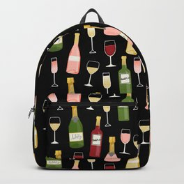 Rose drinks champagne wine bar art food fight apparel and gifts Backpack