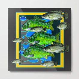 GREEN FISH & BLACK-YELLOW AQUATIC DESIGN Metal Print