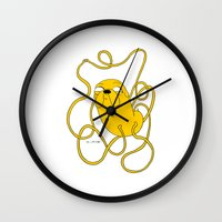 jake Wall Clocks featuring Jake by Katsenhakeron